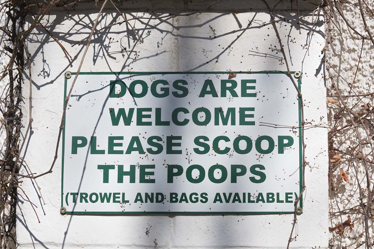 pet friendly sign dogs welcomed but pick up the poops