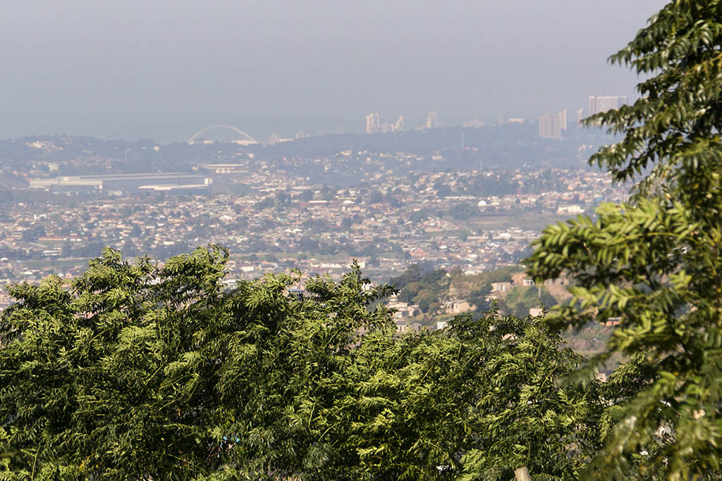 View from the crest overlooking Durban where even Moses Mabida Stadium can be seen
