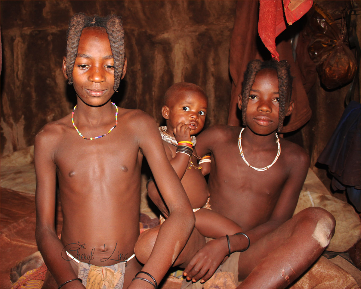 Himba children posing for the camera