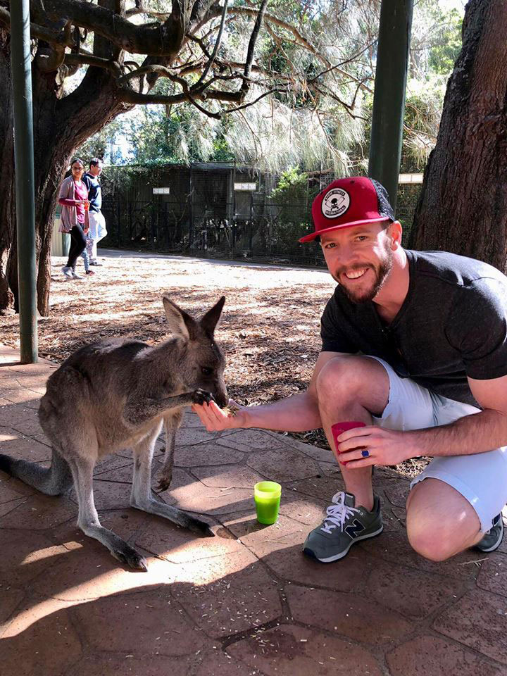 Feeding Lucy the orphan Kangaroo at Featherdale Wildlife Park