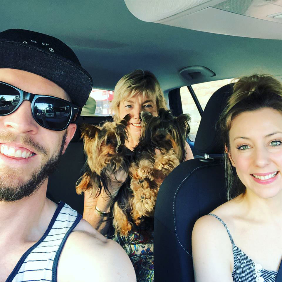 Family in car on way to Jervis Bay