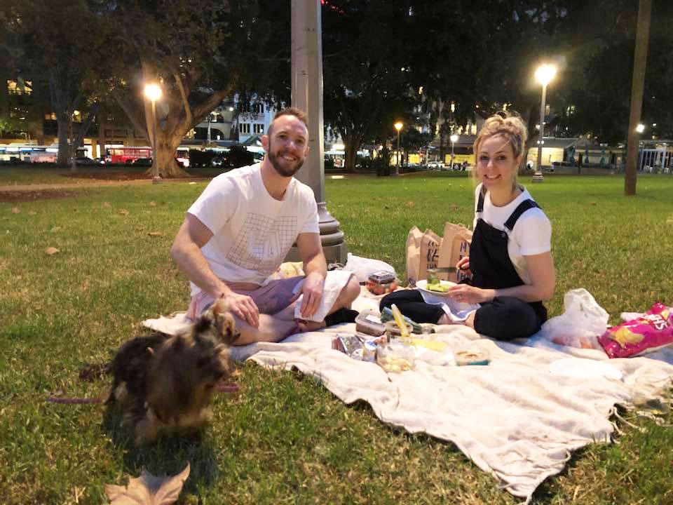 Family enjoying picnic in Hyde Park